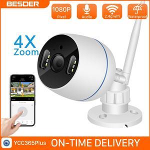 BESDER-cámara inalámbrica con Zoom 4x digital, Wifi en la nube, para exteriores, 2MP, bala, visión nocturna a todo Color, Audio, cámara IP de seguridad para el hogar