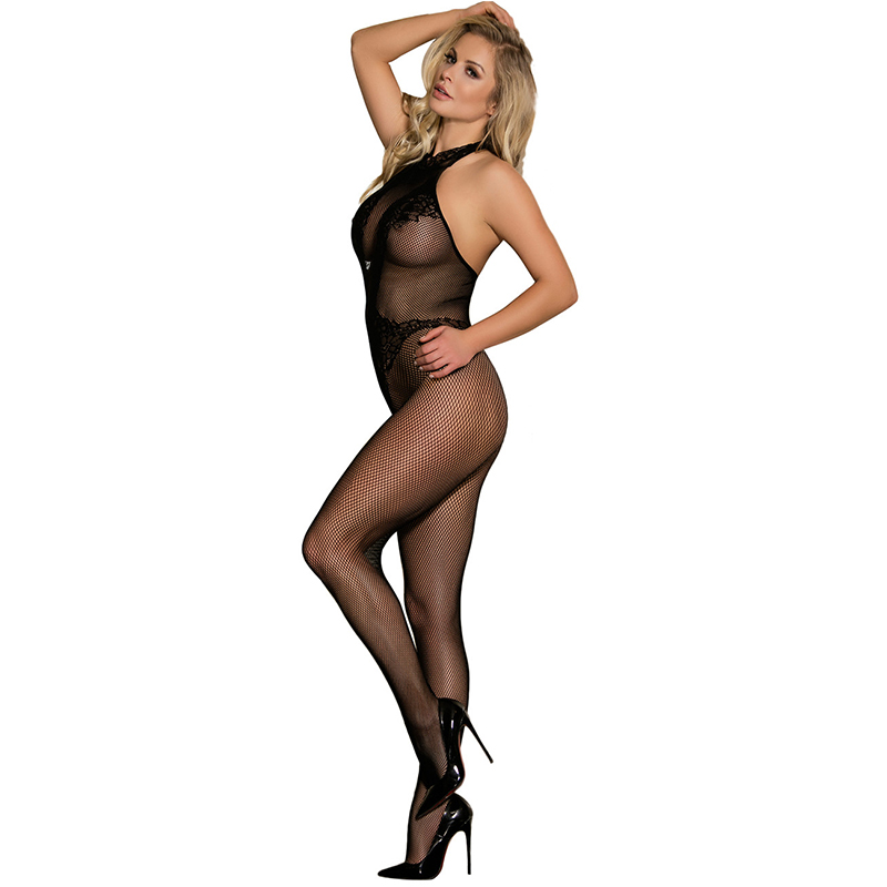 Women Erotic Wear Black Floral Lingerie Lace And Fishnet Bodystocking Halter Backless Open Crotch Plus Size Bodystocking H3137