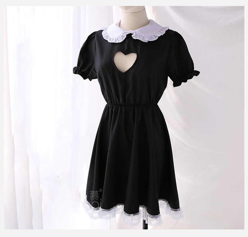 2019 busto abierto dama traje sexy Cosplay Kitty traje delantal de algodón de encaje tentación Mini vestido para mujeres negro blanco Lolita