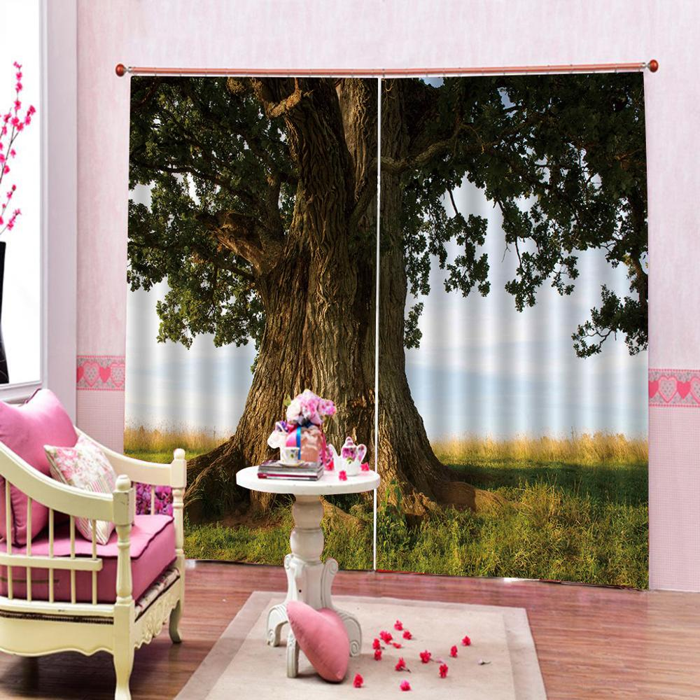 nature scenery curtains tree curtain Customized size Luxury Blackout 3D Window Curtains For Living Room