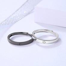 2pcs casais anel definir sol lua preto branco anel de correspondência jóias presente para bff melhor amigo namorado namorada mulheres homens