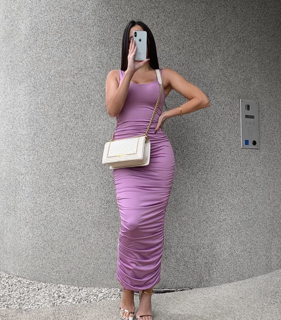 Simenual Ruched Solid Sexy Bodycon Party Dresses Women Fashion Sleeveless Skinny Clubwear Basic Hot Midi Dress 2020 Slim Female 5