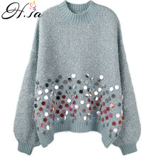 H. SA 2019 femmes hiver doux Pull et pulls Oneck Style ample Sequin rose Pull Pull Femme noël Pull kawaii haut