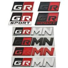 Metal gr esporte gr mn carro de corrida emblema emblema decoração adesivo para toyota vitz prius phv harrier marca x voxy/noah aqua priusα