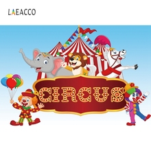 Laeacco Circus Party Clown Animals Baby Birthday Portrait Scenic Photographic Backgrounds Photography Backdrops For Photo Studio
