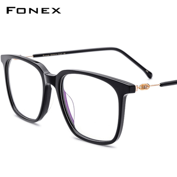 Acetate Glasses Frame Men Women Prescription Eyeglasses Spectacles Oversize Square Myopia Optical Frames Screwless Eyewear 5203 acetate glasses frame men square prescription eyeglasses new women male nerd myopia optical clear spectacles eyewear fonex