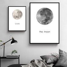 Moon Print Painting Nordic Wal  Art Canvas Style Minimalist Posters Modern Picture Home Decor