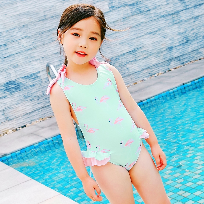 Summer New Style Students Girls Children Firebird Bathing Suit GIRL'S One-piece Baby Swim Bathing Suit Baby Exposed Back Swimmin