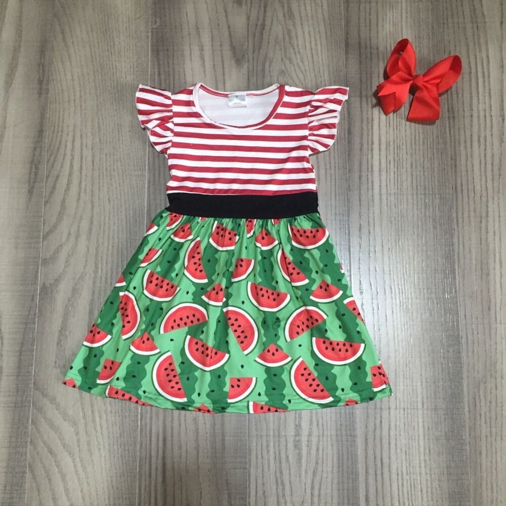 Baby Girls Summer Garden Dress  Girls Stripe Dress With Watermelon Print Girls Cotton Dress With Bow