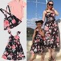 Семейный комплект, одежда для мамы и ребенка, одежда для мамы и дочки с цветами, платья для мамы и дочки, хлопковое платье без рукавов для жен...