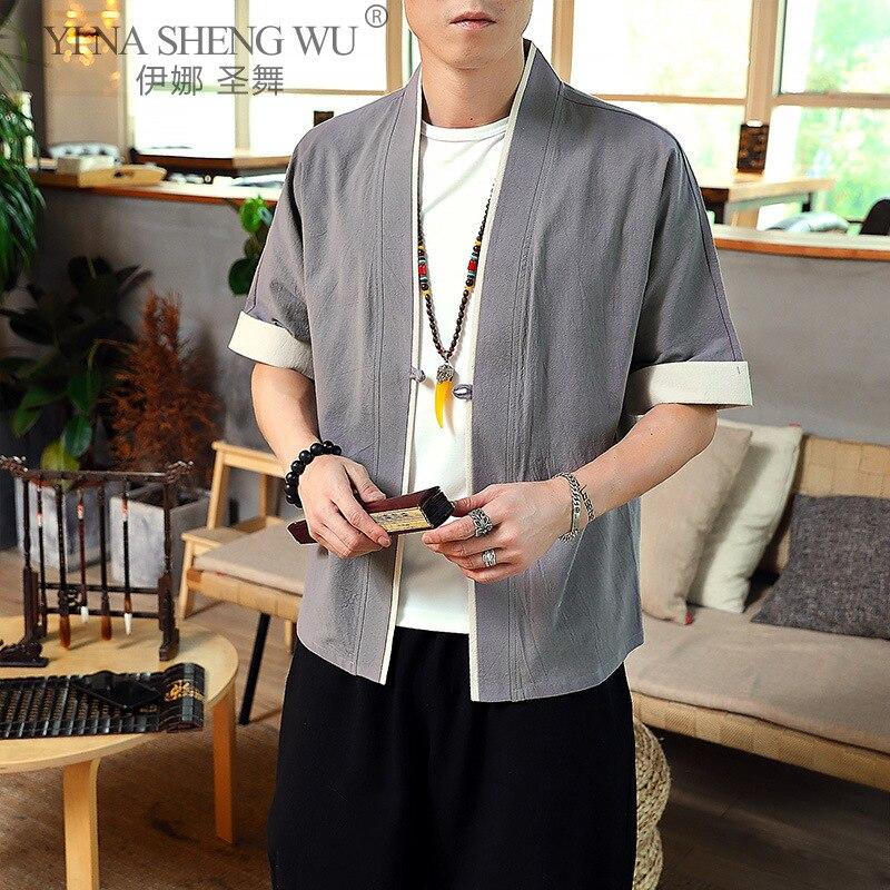 Patchwork Linen Vintage Style T Shirt For Men Japanese Kimono Clothing T-Shirt Men Print Top Men Hip Hop 5XL Summer New Arrival