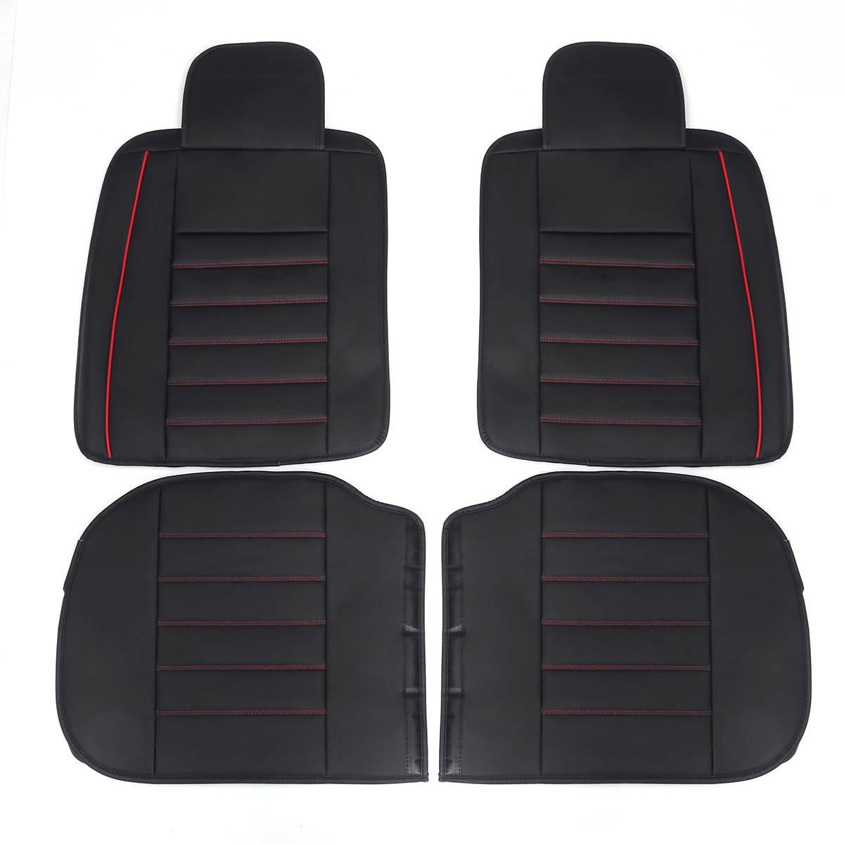 Doux portable et confortable respirant housse de siège en cuir de voiture avant arrière coussin de siège ensemble avec oreiller SUV Type à usage général - 6