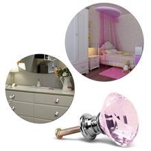 1 pieza de diamante de cristal rosa de 30mm - manija de puerta - tirador de cajón de armario de cristal tira perillas Manijas para gabinete