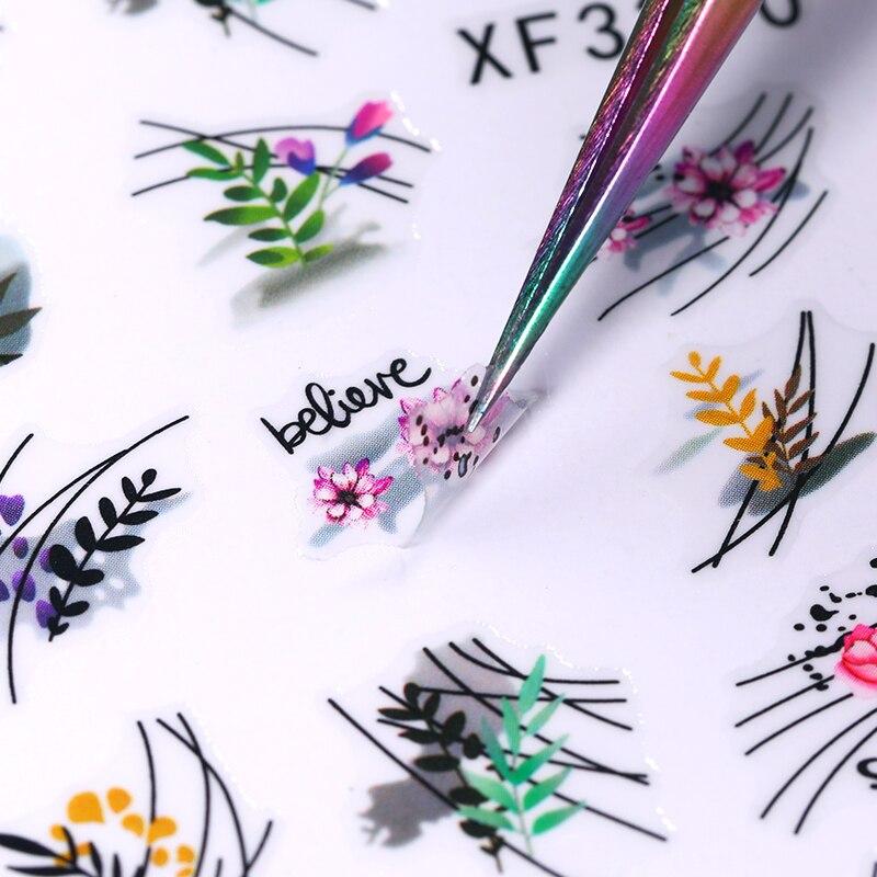 1 шт. зеленый простой 3D наклейки для ногтей в виде цветов и листьев, геометрическая форма Переброска воды ползунки украшение для маникюра Стикеры и наклейки    АлиЭкспресс - Для красоты и здоровья