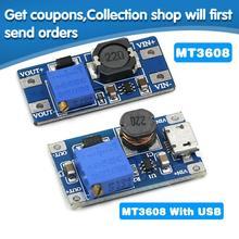 1PCS MT3608 DC-DC Adjustable Boost Module 2A Boost Plate Step Up Module with MICRO USB 2V-24V to 5V 9V 12V 28V