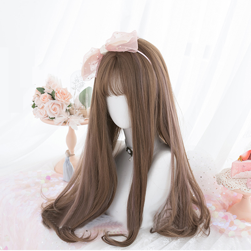 Janpanese Style Lovely Girl Daily Lolita Cosplay Wigs High-temperature Fiber Synthetic Hair Brown Long Curly Hair+ free wig net