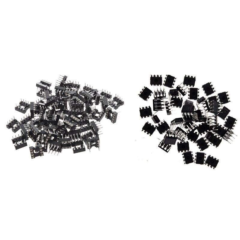 Tüketici Elektroniği'ten AC/DC Adaptörler'de 50 adet NE555P NE555 DIP 8 tek BIPOLAR zamanlayıcılar IC 60 adet 8 yuvarlak Pin 2.54Mm Pitch DIP Ic adaptör yuvaları title=