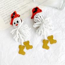 Diseño hecho a mano cuentas de arroz Snowma pendientes con tuerca de aves para las mujeres Vintage lindo cristal borla pendiente boda Navidad joyería