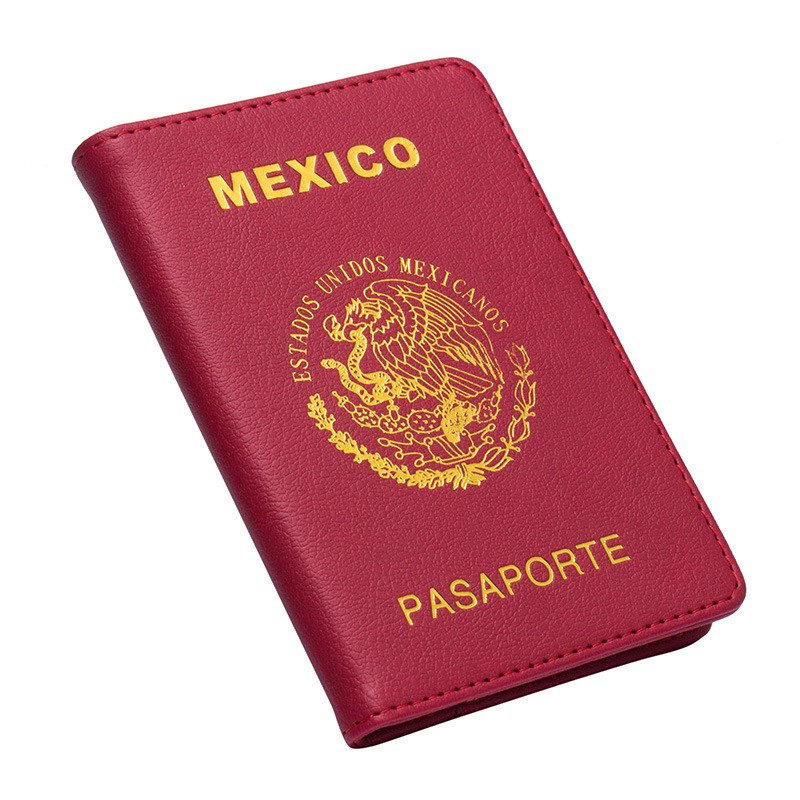 Jiexi Mexican National Emblem Badge-letter Country Name Passport Cover Case Holder Wallet Travel Accessories ZSPC60