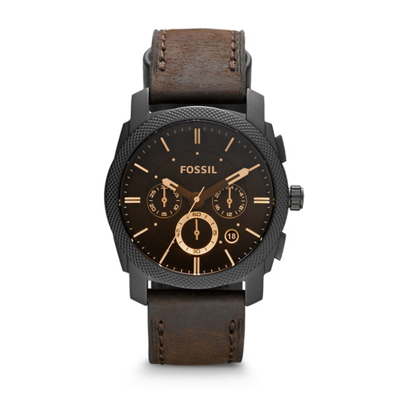 Fossil Watch Men Machine Mid-Size Chronograph Watch with Brown Leather Sport Watch Analog Brown Dial Men's Watch FS4656