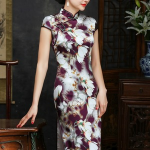 Image 2 - 2019 Sale Real Spring/summer Outfit Daily Improved Long Cheongsam Restoring Ancient Ways Of Cultivate Morality Silk Dress Qipao