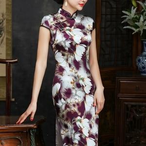 Image 2 - 2019 verkauf Echt Frühjahr/sommer Outfit Täglichen Verbesserte Lange Cheongsam, Die Alte Weisen Von Kultivieren Moral Seide Kleid Qipao