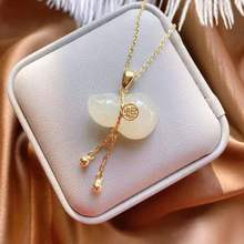 Silver Pendant Necklace Jewelry Pith-Gourd White Jade Chinese-Style Natural Charm Hetian