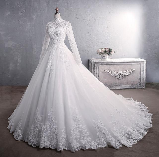 Muslim Wedding Dress 2021 Elegant High Neck With Train Princess Bride Dress Luxury Lace Embroidery Wedding Gown Vestido De Noiva 1