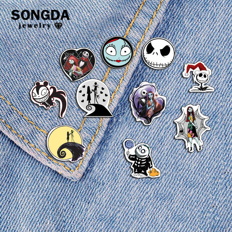 Songda o pesadelo antes do natal shrinky dinks pinos bonito mini jack skellington e sally romance lapela pino broche resina distintivo