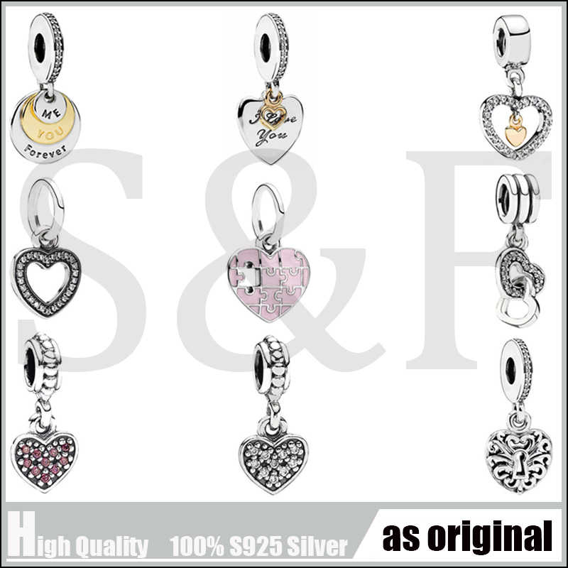 100% Real 925 Sterling Silver Charm Clear CZ Double Heart Pendants Beads Fit Original Pandora Charms Bracelets making