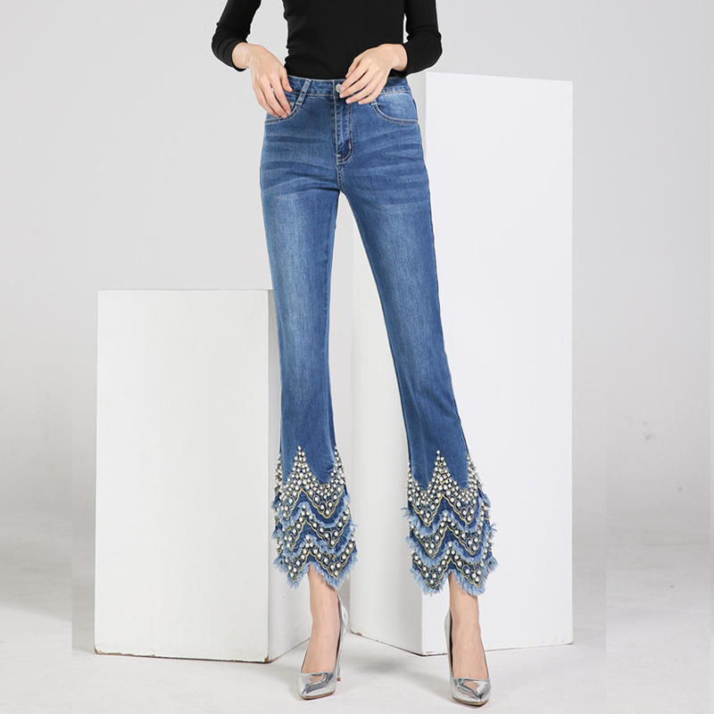 FERZIGE New Handmade Beading Embroidery Jeans Flare Pants Women Skinny High Waist Jeans Female Plus Size 36 Blue Trousers
