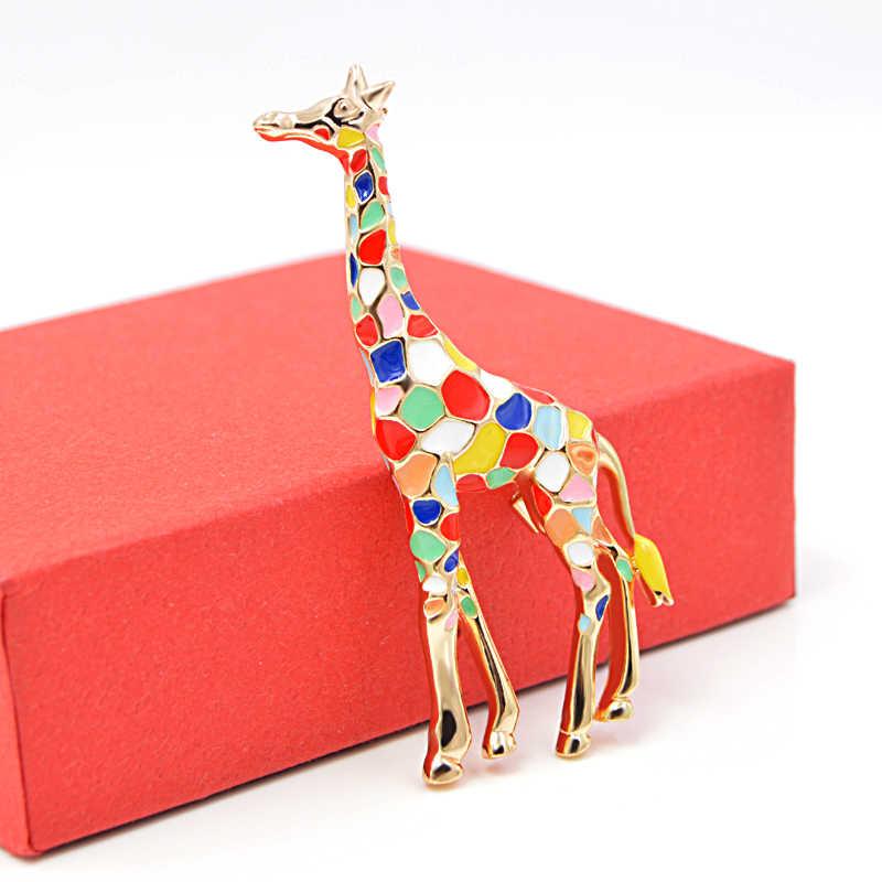 צעיר צבעוני צבעוני חמוד ג 'ירפה סיכות סיכות אמייל סיכת תכשיטים לנשים שמלת חליפת אביזרים באיכות גבוהה
