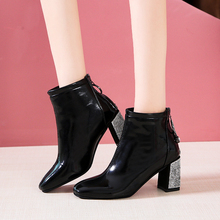 Lucyever Frauen Mode Strass Platz High Heels Zipper Ankle Stiefel Damen Patent Leder Kristall Winter Schuhe Botas Mujer