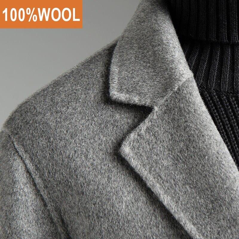 Мужская двойная шерстяная теплая куртка средней длины, Мужская зимняя французская деловая куртка, шерстяное пальто|Пальто|   | АлиЭкспресс