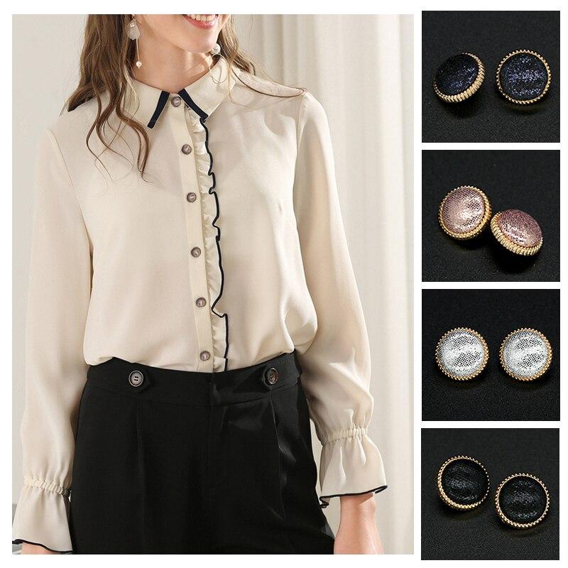 Crema Flor Perla 13mm elegante camisa de vestir de abrigo de botones plásticos cose en GEM
