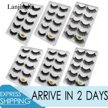 LANJINGLIN 5 pairs 3d faux mink lashes fluffy wispy eyelashes extension natural long false eye lash makeup tool fake eyelash