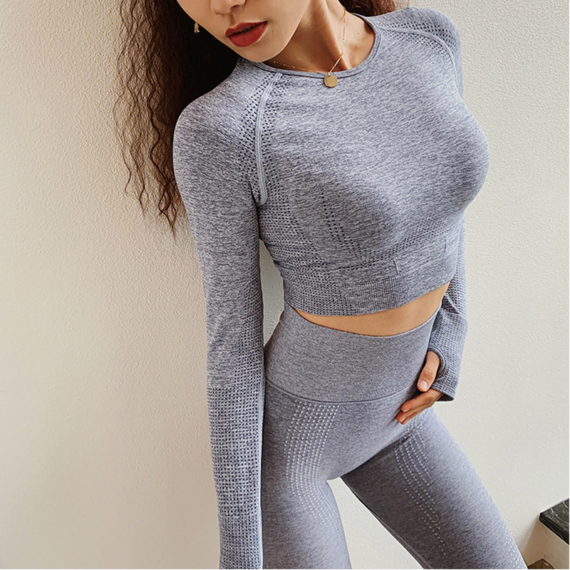 Yoga Sets Women Gym For Fitness Suit 2pcs Long Sleeve Shirt Smealess Legging Sports Workout Suits Sportwear Outfit Running,ZF354
