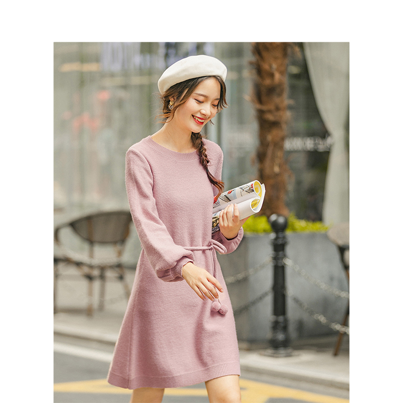 INMAN 2020 New Arrival Elegant Office Style Screw Thread Solid Color Round Collar Women Knitwear Dress