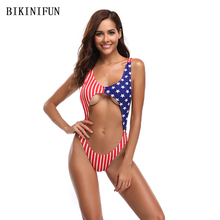 цена на New US Flag Print Monokini Women One Piece Swimsuit Cross Back Straps Swimwear S-L Girl Sexy Bathing Suit Retro Vintage Monokini