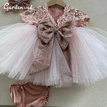 Милое кружевное платье с бантом и цветами для девочек пышное