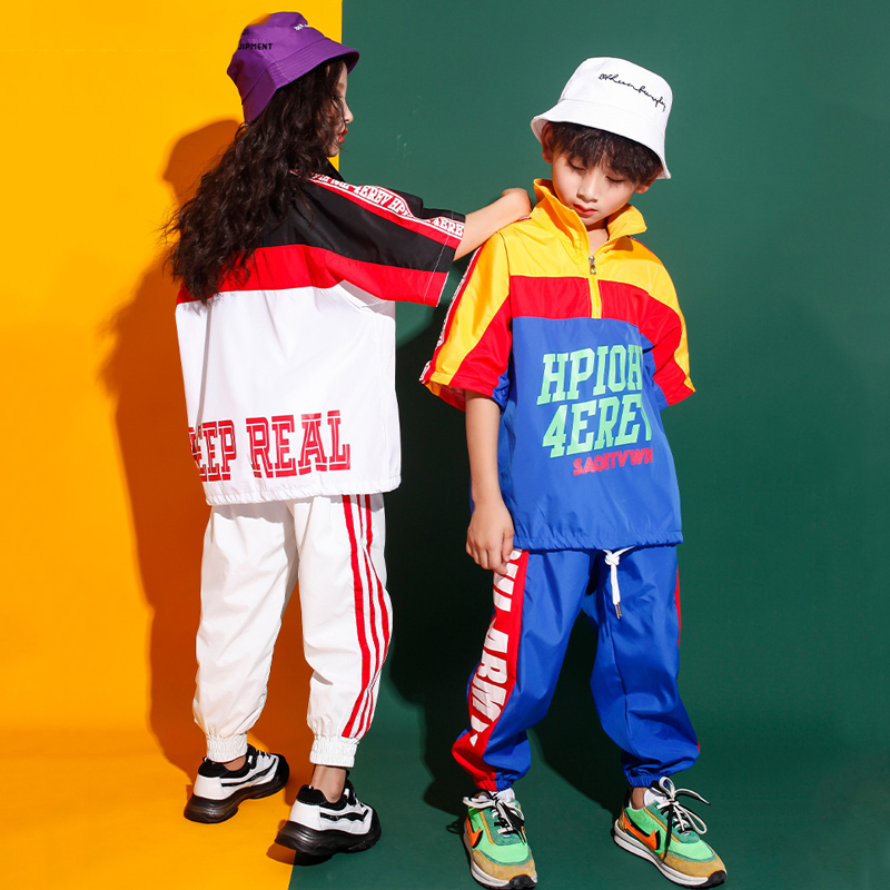 Children's Hip Hop Clothes Jazz Dance Wear For Boys Girls Tops Pants Street Wear Stage Performance Jazz Dancing Costume BL2677