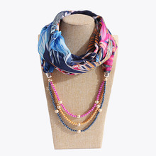 AliExpress selling new spring and autumn clothing pendant scarf chiffon pearl accessories womens necklace