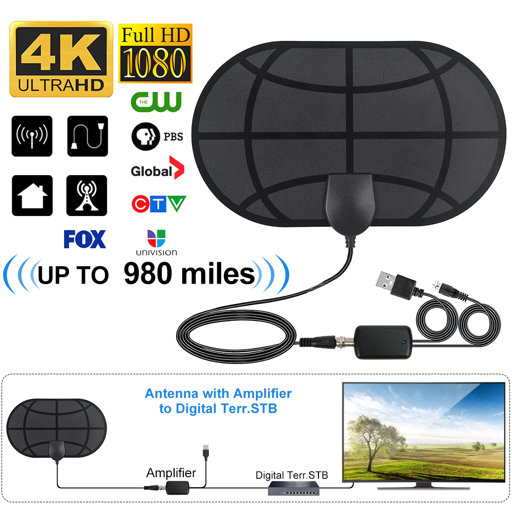 Digital HDTV Antenna 4K Up To 980 Mile Range Indoor Clear TV Antennas With Amplifier Signal Booster Active HD TV Radius Surf