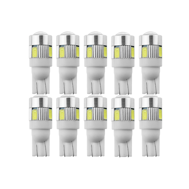 10x светодиодный 10 W5W Автомобильная светодиодная лампа для внутреннего освещения 12 в автомобильный сигнал номерной знак купол лампа для чтен...