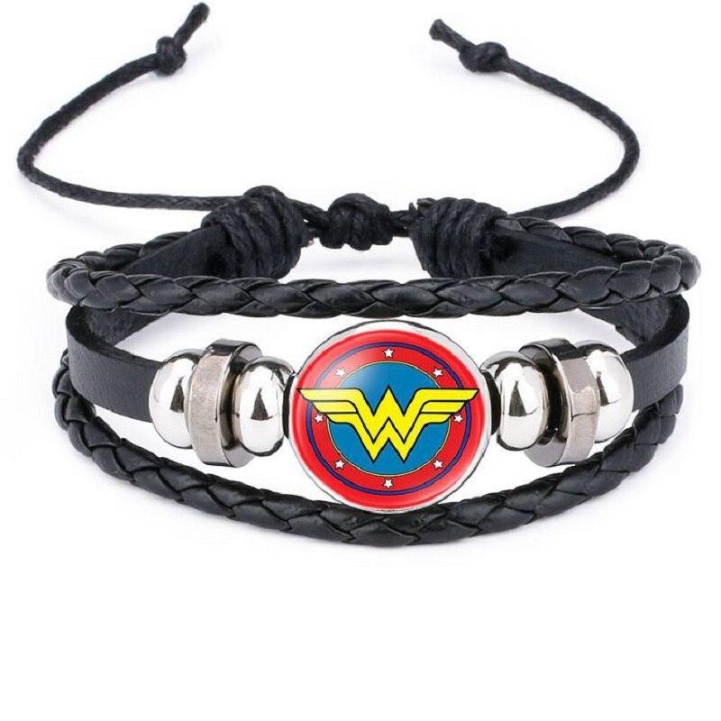 Disney Bracelet Heroes Batman Superman Iron man Cartoon Cowhide Bracelet Action Figure Toys Lovely Wristand Boys