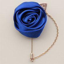 7piece/lot Royal Blue Silk Ribbon Ceremony Flower Corsages Handmade Wedding Prom Groom Groomsmen Buttonhole Lapel Pin XH0273-17