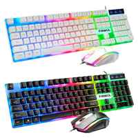 Keyboard Mouse Set Game Wired Mouse Cool Colorful Backlit Keyboard Home Office L4MD