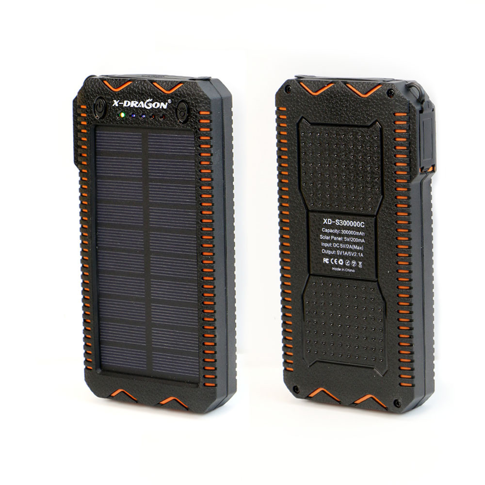 Waterproof Solar Power Bank with Cigarette Lighter and Dual USB Output Ports for Smartphone Charging 1