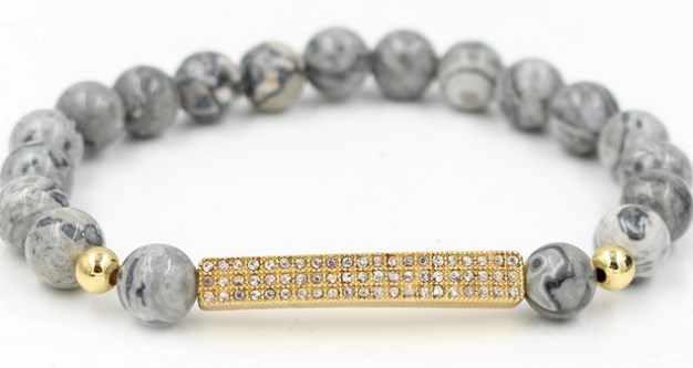 8 มม.trtgt42 Gold Silver Micro Pave CZ zircon Cubic Zirconia สร้อยข้อมือปรับลูกปัดหมวกกันน็อก Crown Agate ONYX กำไล