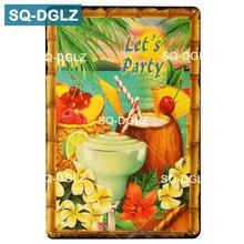 [SQ-DGLZ] TiKi fiesta signo de Metal Bar Pub decoración playa estaño signo Vintage Aloha pared decoración arte pintura placas cartel
